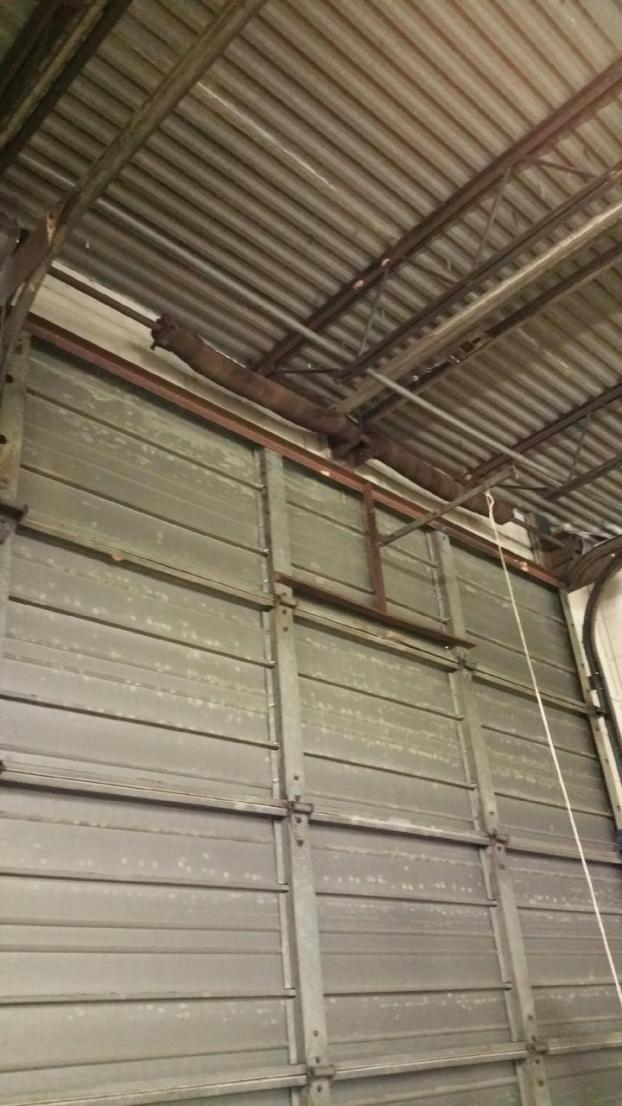 Old overhead garage door