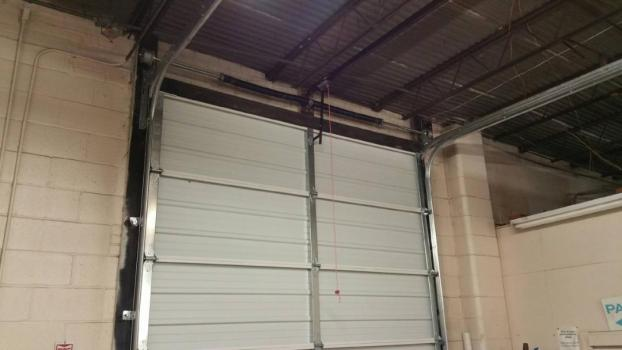 Backside of a commercial overhead garage door