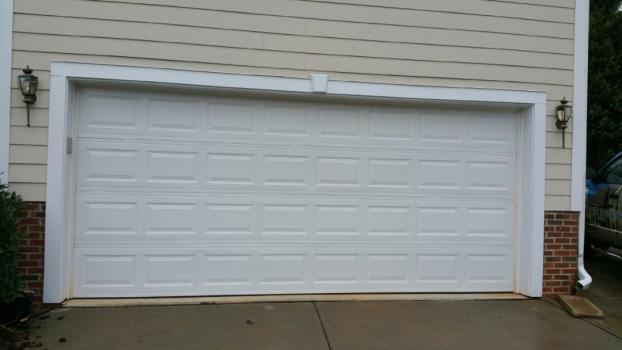 Plain white residential garage door