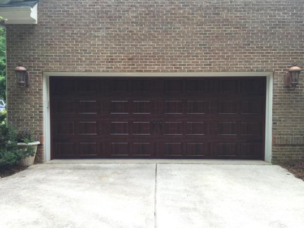 Wide brown custom garage door by All American Overhead